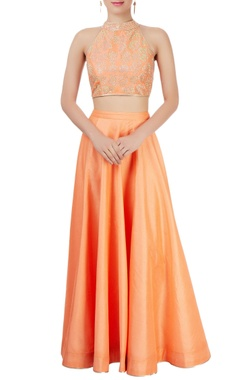 Orange lehenga set with embellishments