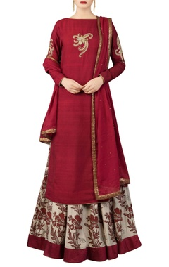 Maroon kurta set with printed lehenga