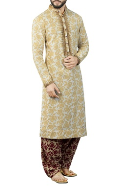 Debarun - Men White & beige printed kurta set