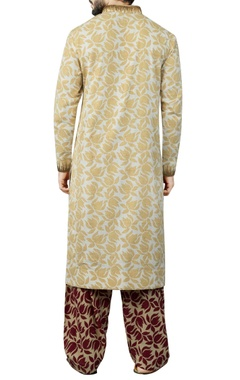 White & beige printed kurta set