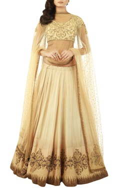 beige lehenga set with zardozi embroidery