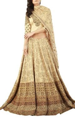 Beige lehenga set with bead embroidery