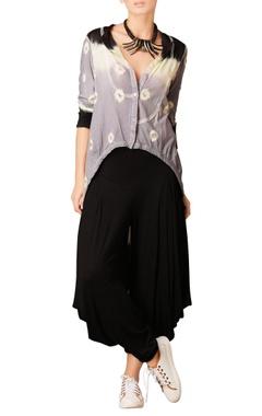 Grey, white & black shaded asymmetric tunic