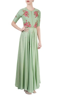 Light green embroidered maxi