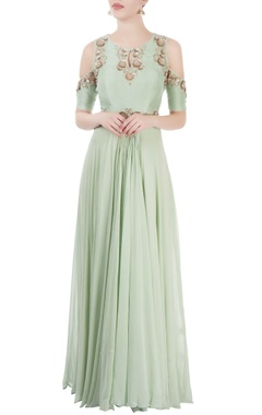 Pastel green embroidered gown