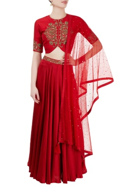 Red embroidered jacket lehenga set
