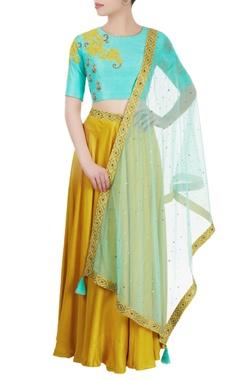Yellow & blue embroidered lehenga set
