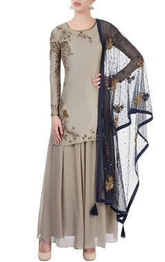 grey embroidered kurta palazzo set