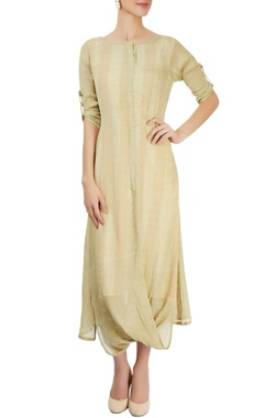 Olive green embroidered dress with printed lining