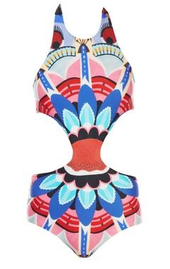 Multi-colored printed monokini
