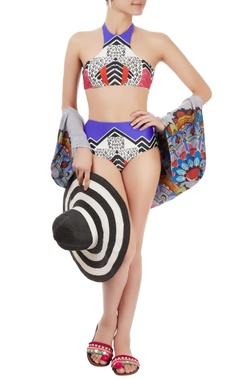 Multi-colored printed bikini set