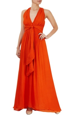 Orange gown with criss cross back