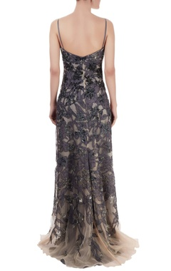 Navy blue embellished gown with cutwork