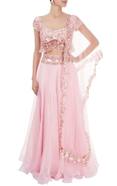 Pink lehenga set with sequin work