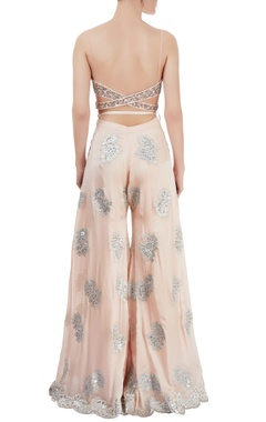 light pink embroidered pant set