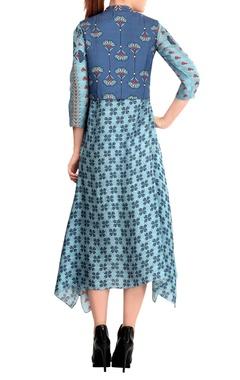 Sky blue printed jacket dress