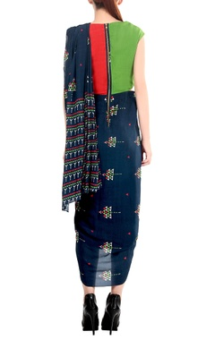 Blue draped sari