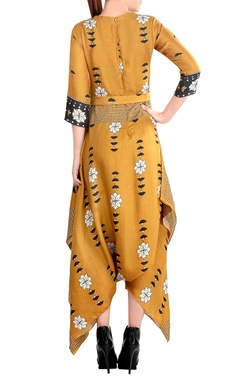 mustard yellow & grey printed jumpsuit