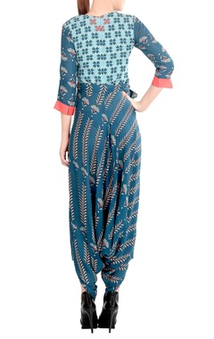Blue printed draped jumpsuit