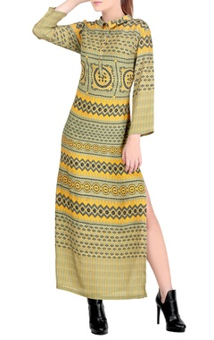 Green & yellow printed dress