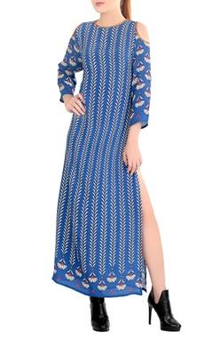 Blue printed cold shoulder dress