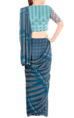 Blue printed draped sari