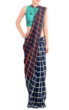 blue checkered sari