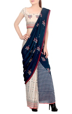 blue & off white draped sari