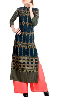 Teal printed kurta set