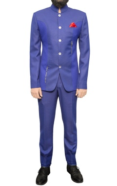 blue bandhgala with zipper details