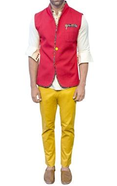 red bandi jacket with printed piping