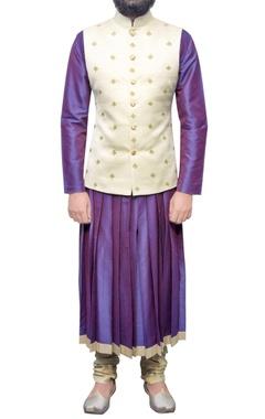 purple pleated kurta with beige churidar
