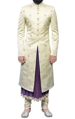 off white sherwani with zari butis
