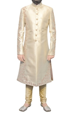 gold sherwani with embroidery