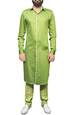 pista green trousers with pin tucks