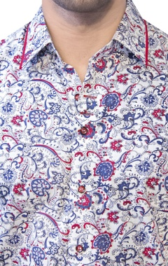 white shirt with red & blue print