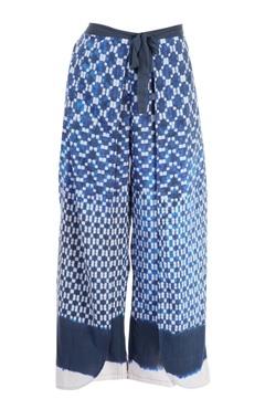 blue printed palazzo pants