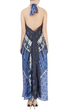 Blue printed halter-neck dress