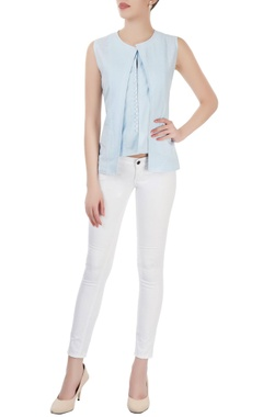 Powder blue layered top with embroidery