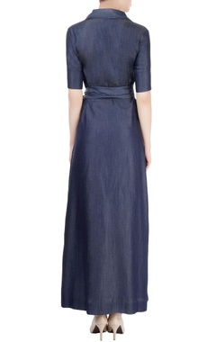 Navy blue maxi with tie-up belt