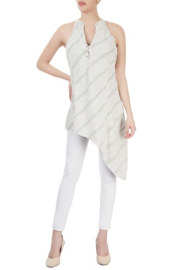 Light grey tunic with striped pattern