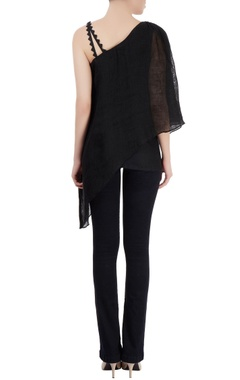 Black layered tunic with asymmetrical hem