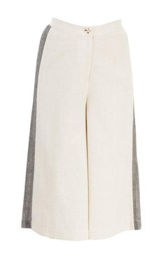 Beige & grey paneled culottes