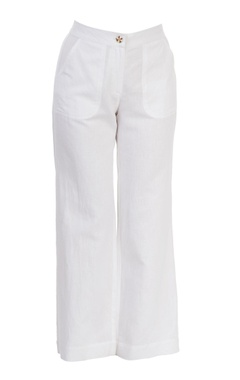 White straight-fit pants