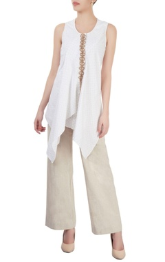 Beige straight-fit pants