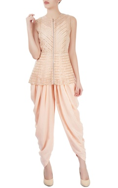 Peach kurta dhoti set with beadwork
