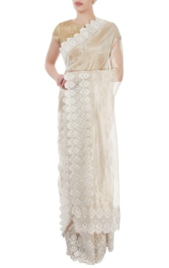 Off white sari with floral motif