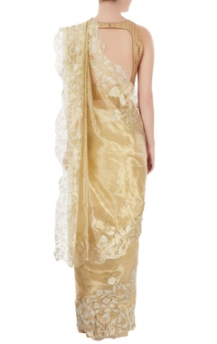Gold floral embroidered sari