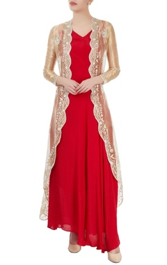 Red maxi with gold sheer jacket