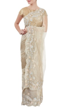 Dev R Nil Silver floral embroidered sari